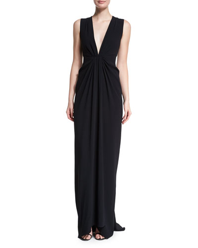 Sleeveless Gathered-Waist Gown, Black