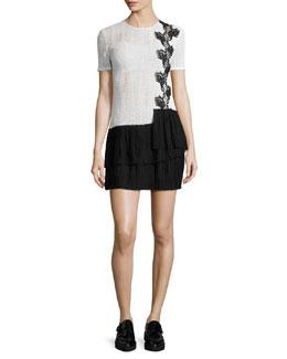 Crocheted Ruffle-Skirt Dress, Cream