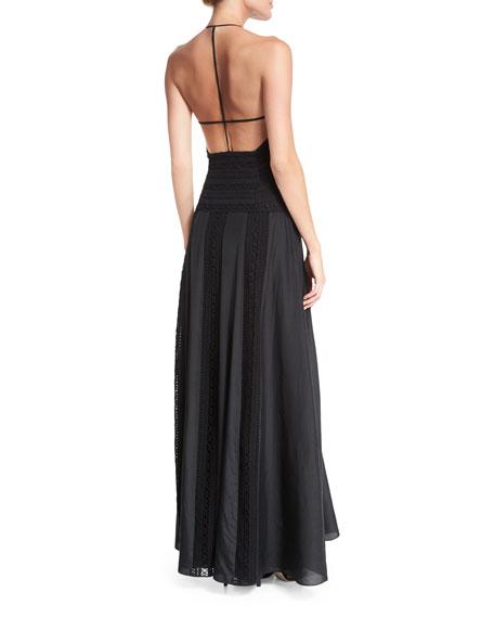 Macrame V-Neck Halter Gown, Black
