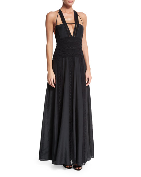 Macrame V-Neck Halter Gown, Black