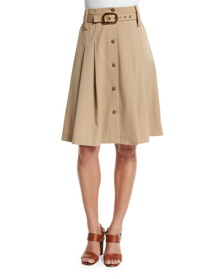 Pleated Button-Front Belted Skirt, Dune