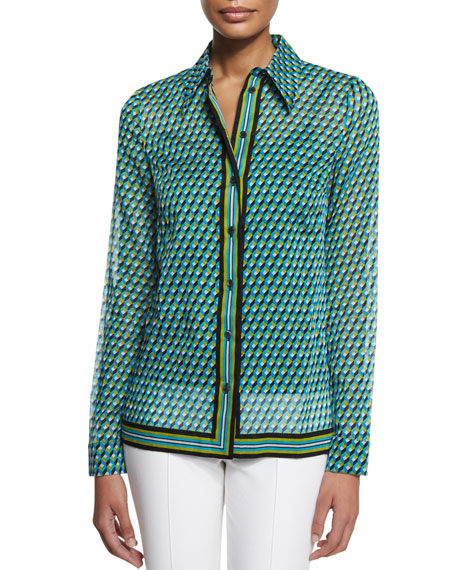 Deco-Print Button-Down Shirt, Aqua