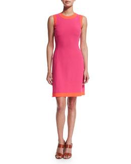 Sleeveless Two-Tone A-Line Dress, Watermelon