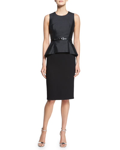 Belted Shantung Peplum Sheath Dress, Black