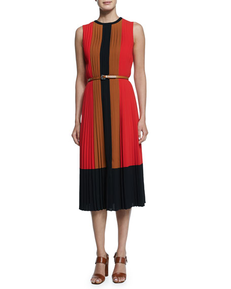 Techno Georgette Pleated Colorblock Dress, Coral/Caramel