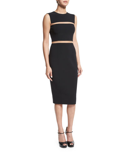 Wool-Crepe Mesh-Inset Dress, Black