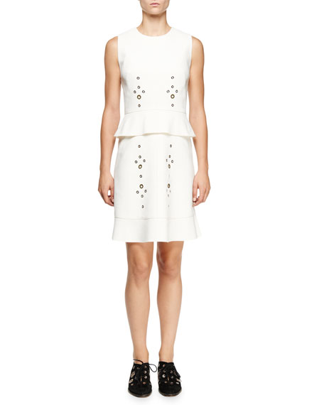 Sleeveless Grommet-Embellished Dress, White