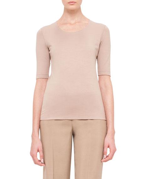 Half-Sleeve Jersey T-Shirt, Beige