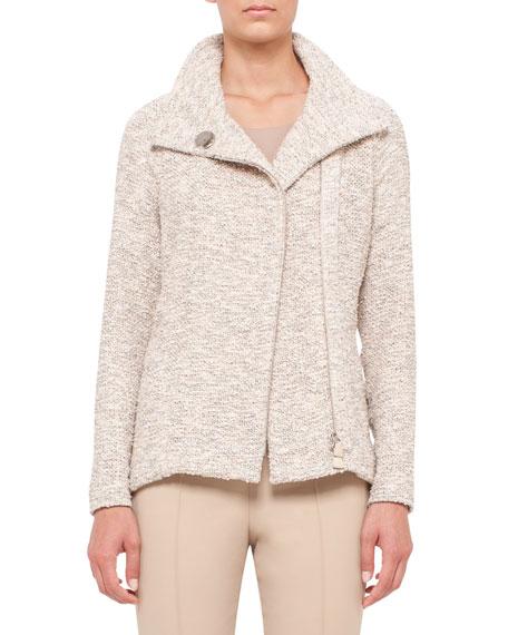 Easy Long-Sleeve Boucle Tweed Jacket, Kami/Beige