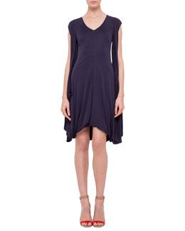 Cap-Sleeve Draped Jersey Dress, Navy