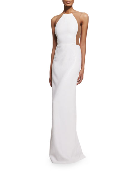 Illusion Backless Pebbled Crepe Gown, White