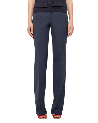 Straight-Leg Cotton-Silk Denim Pants, Navy