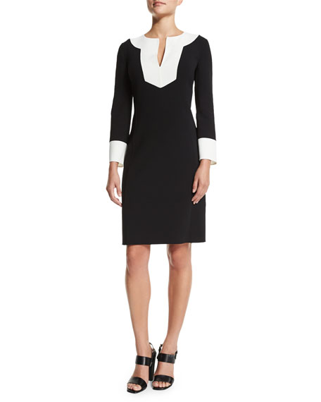 Wool-Crepe Colorblock Dress, Black/White