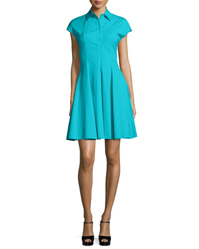 Short-Sleeve Spread-Collar Shirtdress, Aqua