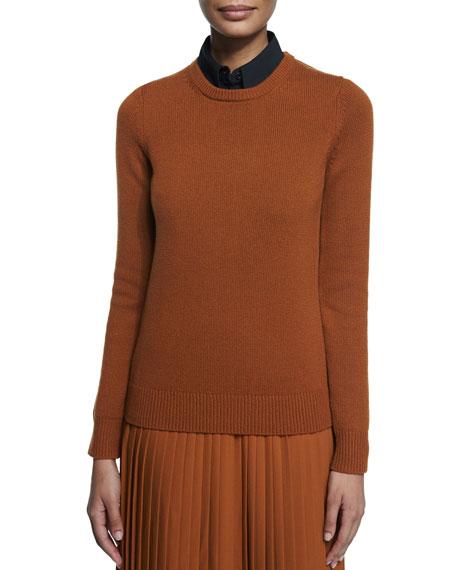 Cashmere Crewneck Knit Sweater, Caramel