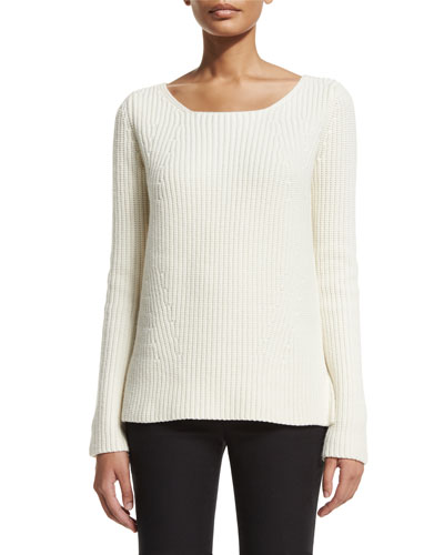 Chunky-Knit Cashmere Sweater, White