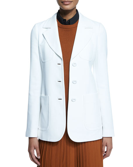 Patch-Pocket Three-Button Jacket, Optic White