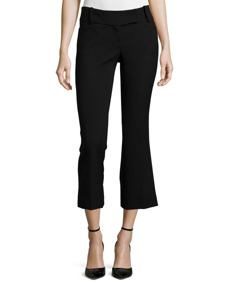 Cropped Flare-Leg Pebble Crepe Pants, Black