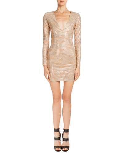 Crystal Tiger-Striped Long-Sleeve Dress, Nude/Peach