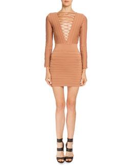 Long-Sleeve Lace-Up Bandage Dress, Bronze