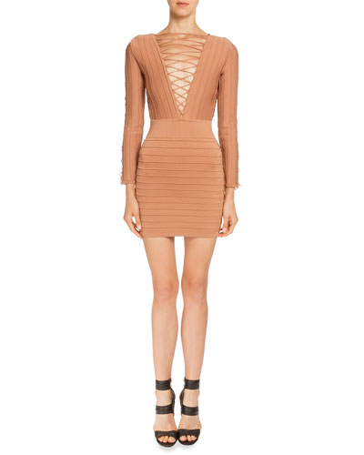 Long-Sleeve Lace-Up Bandage Dress, Bronze