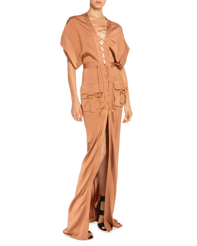 Dolman-Sleeve Lace-Front Cargo Maxi Dress, Brown