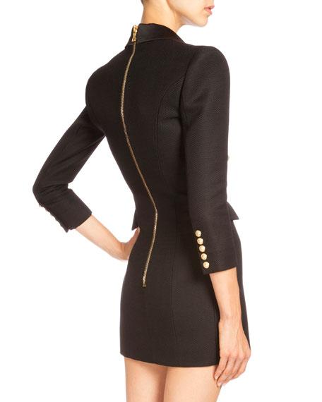 5bbc12746b Balmain Pique-Knit Double-Breasted Blazer Dress