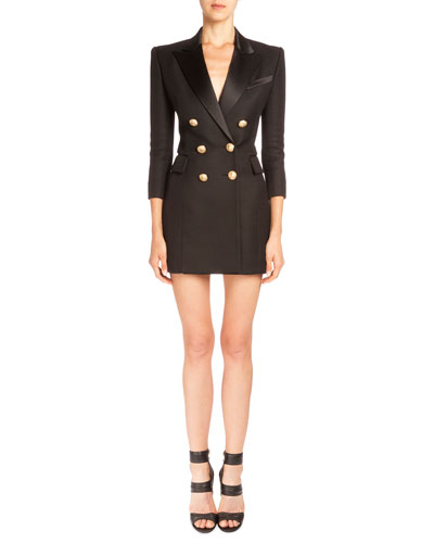 Pique-Knit Double-Breasted Blazer Dress, Black