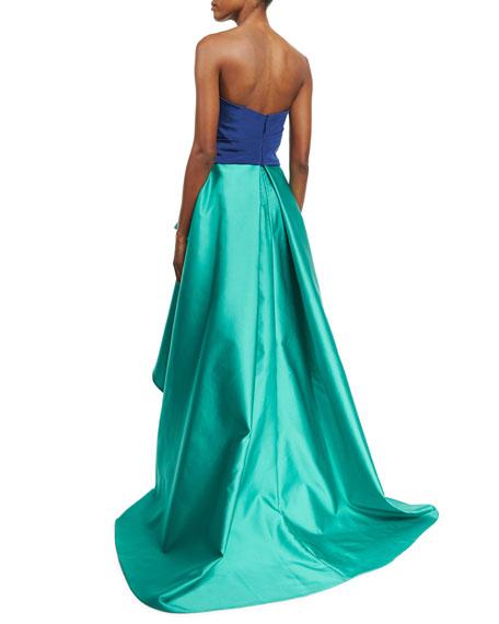 Strapless Bicolor Faille Gown, Navy/Aqua