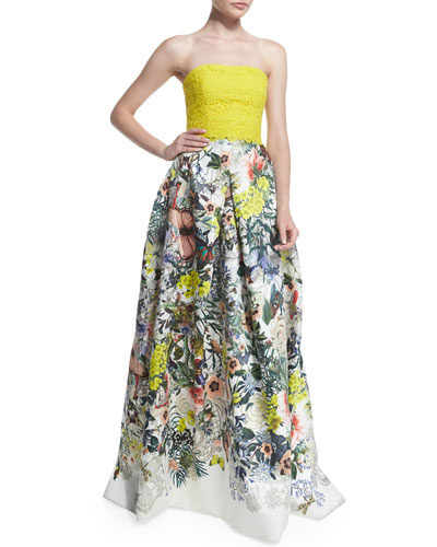 Colorblock Botanical-Print Strapless Gown, Lemon/Multi