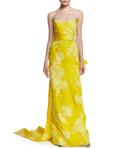 Strapless Rose-Print Silk Gazar Gown, Lemon