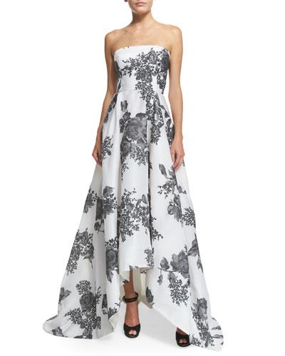Strapless Rose-Print Silk Gazar Gown