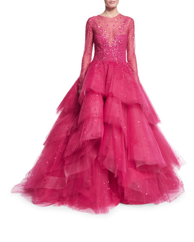 Jewel-Embellished Layered Ball Gown, Magenta