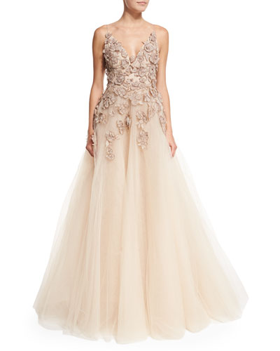 Embroidered-Bodice Full Tulle Gown, Blush