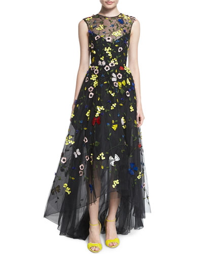 Sleeveless Embroidered Tulle High-Low Gown