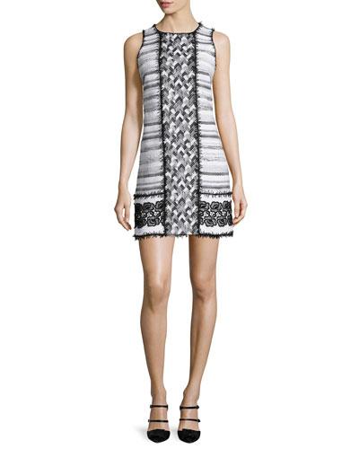 Mixed-Tweed Sleeveless Shift Dress