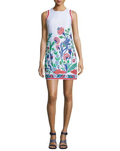 Sleeveless Floral-Embroidered Shift Dress