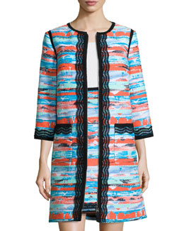 Desert Tweed Lace-Trimmed Topper Coat, Multi