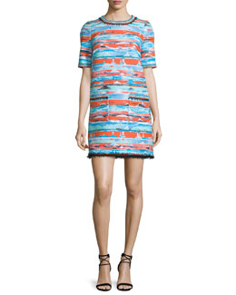 Half-Sleeve Desert Tweed Dress, Multi