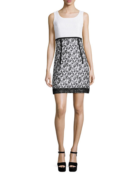 Sleeveless A-Line Combo Dress, Black/White