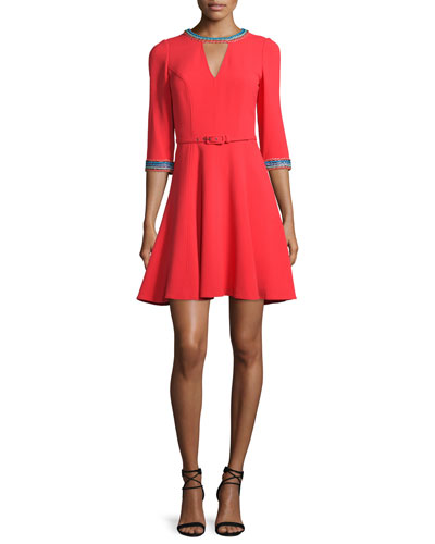 Embroidered 3/4-Sleeve Fit-and-Flare Dress, Coral/Multi