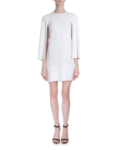 Piped Open-Sleeve Dress, White
