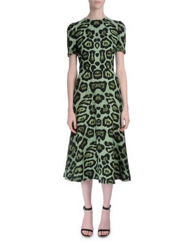Anna W Jaguar-Print Dress, Emerald