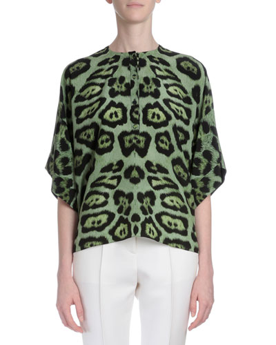 Animal-Print Kimono-Sleeve Blouse, Green