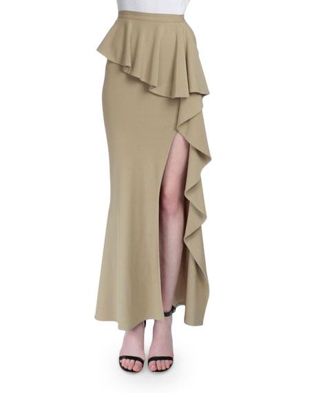 Long Ruffled High-Slit Skirt, Beige
