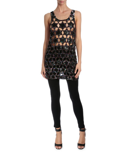 Star-Embellished Cocktail Tank Dress, Black