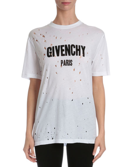 givenchy distressed logo t shirt white. Black Bedroom Furniture Sets. Home Design Ideas