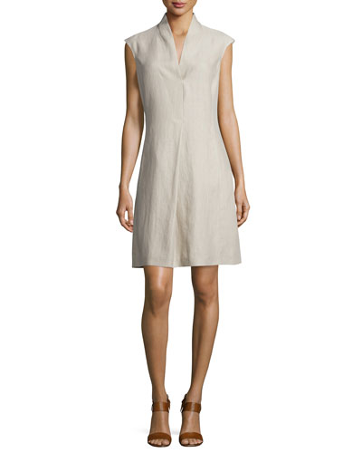 Hollie Linen Cap-Sleeve Dress, Raw Linen
