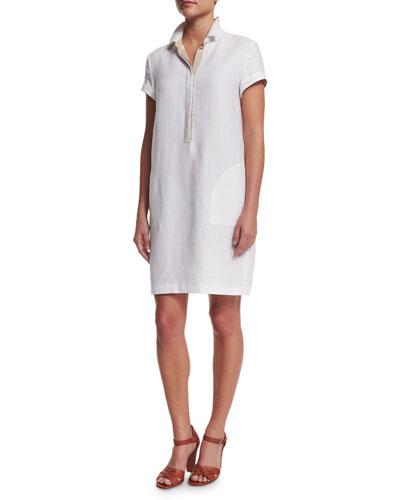 Nicole Short-Sleeve Linen Polo Dress, White