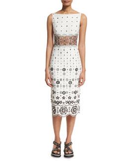 Eyelet-Embroidered Gabardine Sheath Dress, White